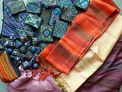 ラオスの絹織物や刺繍製品